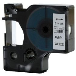Rurka (koszulka) termokurczliwa zamiennik do Dymo, średnica 5mm, szer. wydruku 9mm, dł. 2.5m, biała, czarny nadruk RS5W