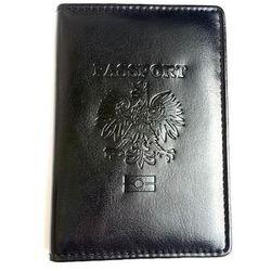 Okładka na paszport, etui na paszport, czarna z czarnym przeszyciem