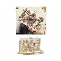 Torebka ślubna - wieczorowa bogato zdobiona perełkami i kryształkami