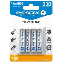 "Akumulatorki, 4x everActive R03/AAA Ni-MH 800 mAh ready to use ""Silver line"""