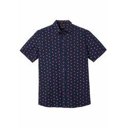 Koszula z krótkim rękawem z kory z nadrukiem bonprix ciemnoniebieski z nadrukiem
