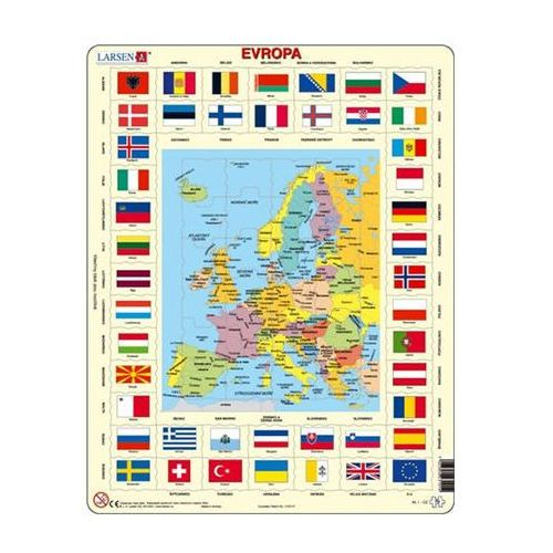 Puzzle, Puzzle MAXI - Mapa Evropy + vlajky/70 dílků neuveden