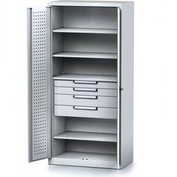 Szafa warsztatowa MECHANIC, 1950 x 920 x 500 mm, 4 półki, 4 szuflady, szare drzwi