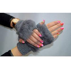 Rękawiczki damskie bez palców z futerkiem