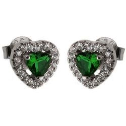Eleganckie srebrne kolczyki serca serduszka heart szmaragd cyrkonie srebro 925 K2570
