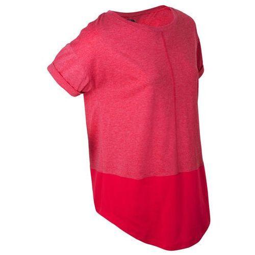 Bluzki, Shirt sportowy z kontrastowymi elementami, krótki rękaw bonprix czerwień granatu melanż