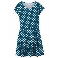 Sukienka dziewczęca shirtowa w groszki bonprix morski turkusowy - biały w kropki