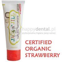 Pasty do zębów dla dzieci, JACK-N-JILL organiczna TRUSKAWKA + Xylitol 50g - naturalna pasta do zębów dla dzieci z dużą zawartością Xylitolu