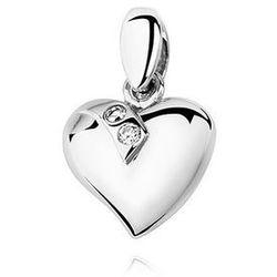 Rodowany srebrny wisiorek gładkie serce cyrkonia cyrkonie srebro 925 KS0011