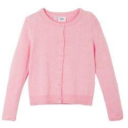 Sweter rozpinany dziewczęcy bonprix jasnoróżowy pudrowy
