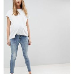 Bandia Maternity Over The Bump Ankle Graser Skinny Jean With Removable Bump Band - Blue