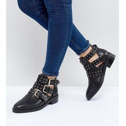 ASOS DESIGN Aries Wide Fit Leather Studded Ankle Boots - Black