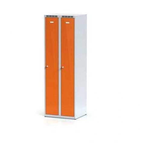 Szafki do przebieralni, Metalowa szafka ubraniowa, pomarańczowe dwupłaszczowe drzwi, zamek cylindryczny