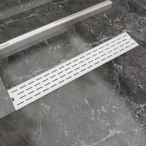 Vidaxl kratka odpływowa, liniowa, 730x140 mm, wzór linii, stal nierdzewna (8718475979005)