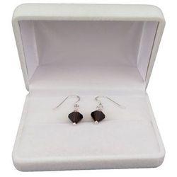 Kolczyki srebrne regularne czarne kryształy o długości 2,5 cm SKK08