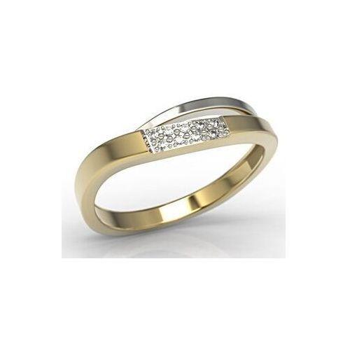 Pierścionki i obrączki, Pierścionek z białego i żółtego złota z cyrkoniami LP-97ZB-R-C - Żółte i białe \ Cyrkonia