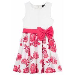 Sukienka dziewczęca na uroczyste okazje bonprix biel wełny - różowy hibiskus