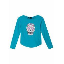 Shirt dziewczęcy z długim rękawem, bawełna organiczna bonprix ciemnoturkusowy z nadrukiem