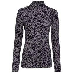 Shirt z długim rękawem i golfem bonprix szaro-czarny leo z nadrukiem