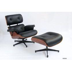 Fotel z Podnóżkiem Kopenhaga czarna skóra/ wiśnia