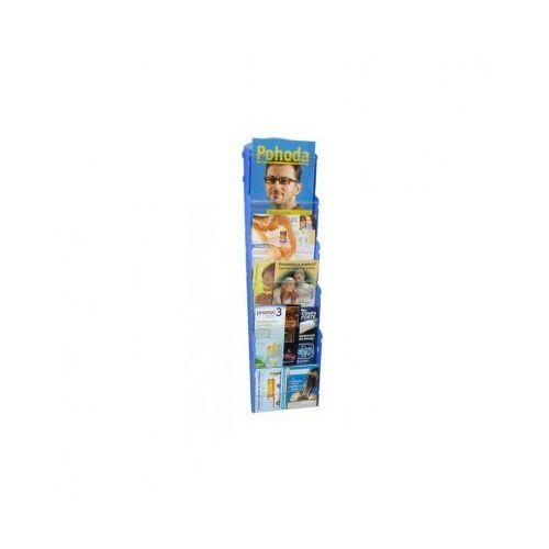Ramy,stojaki i znaki informacyjne, Plastikowy uchwyt ścienny na ulotki - 1x5 A5, niebieski