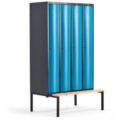 Metalowa szafa ubraniowa CURVE, z ławeczką, 4x1 drzwi, 2120x1200x550 mm, niebieski