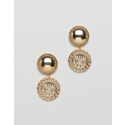 ASOS DESIGN earrings with vintage style cut out drop in gold - Gold