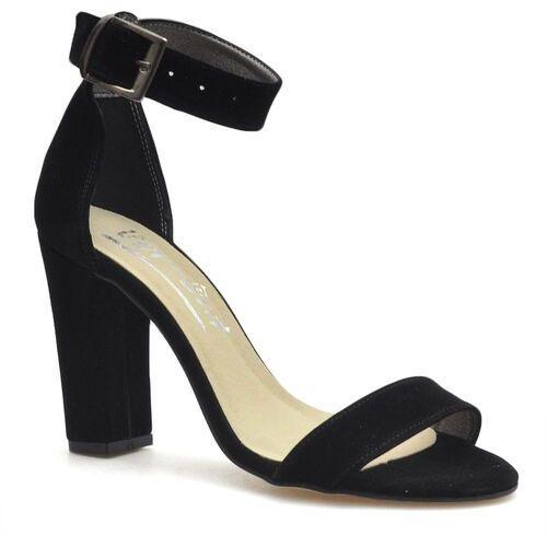 Sandały damskie, Sandały For-But 1580 Czarne zamsz