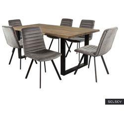 SELSEY Stół Lemucto dąb olejowany dymiony 180x95 cm z sześcioma krzesłami Kimmy ciemnoszarymi