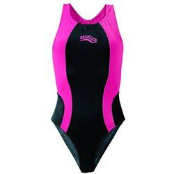 Strój kąpielowy dziewczęcy bonprix czarno-różowy