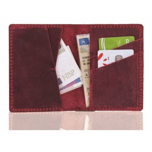 Portfele i portmonetki, Skórzany męski portfel slim wallet brodrene sw07 czerwony