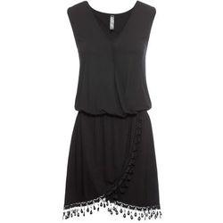 Sukienka z dżerseju z założeniem kopertowym bonprix czarny