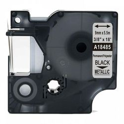 Taśma DYMO Rhino 18485 poliestrowa 9mm x 5.5m metaliczna czarny nadruk - zamiennik