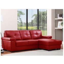 Sofa narożna ze skóry HAZEL - Czerwony - Narożnik prawostronny