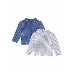 Shirt niemowlęcy z długim rękawem i golfem (2 szt.), bawełna organiczna bonprix biały + jasny indygo
