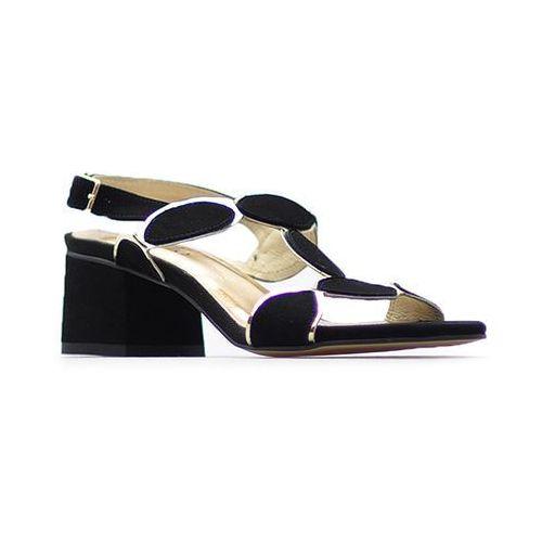 Sandały damskie, Sandały CheBello 2065 Czarne/Złote zamsz