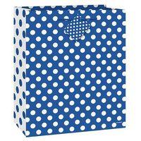 Opakowania prezentowe, Torebka prezentowa niebieska w białe kropeczki 18x23 cm - 1 szt.