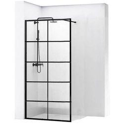 REA BLER 1 Ścianka prysznicowa 70cm, czarne profile + powłoka EASY CLEAN, loftowe