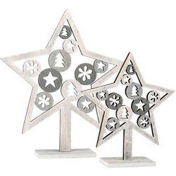 Drewniane gwiazdki - dekoracja świąteczna - 2 szt