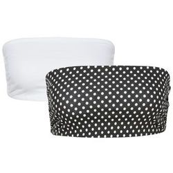Top opaska (2 szt.) bonprix biały + czarny w kropki