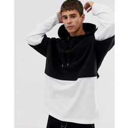 ASOS DESIGN oversized hoodie with double layer sleeve and hem in black - Black