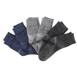 Skarpetki (6 par), kolorowe bonprix czarny + ciemnoniebieski + ciemnoszary