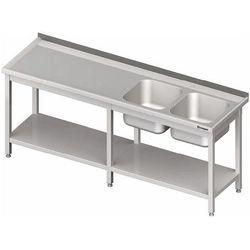Stół ze zlewem dwukomorowym z prawej strony z półką 2400x700x850 mm | STALGAST, 980837240