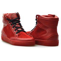 Sneakersy Chebello 521/D Czerwone lico + welur