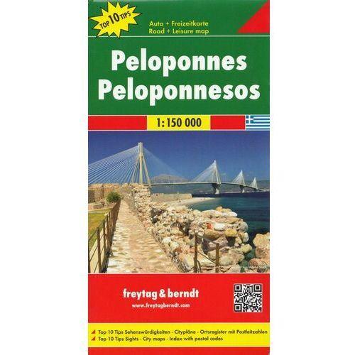 Mapy i atlasy turystyczne, Peloponez / Półwysep Peloponeski 1:150 000. Mapa samochodowa, składana. Freytag&Berndt (opr. twarda)