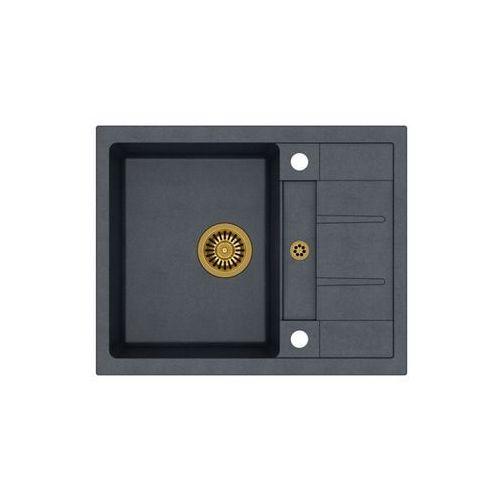 Quadron Zlew granitowy ze złoty syfonem morgan 116 - czarny