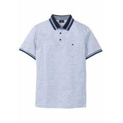 Shirt polo z kieszonką na wys. piersi, krótki rękaw bonprix jasnoniebieski melanż