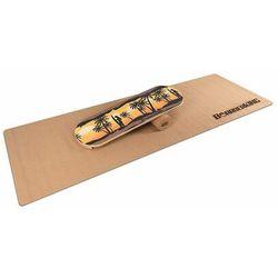 BoarderKING Indoorboard Classic, platforma balansowa + mata + wałek, drewno/korek, żółta