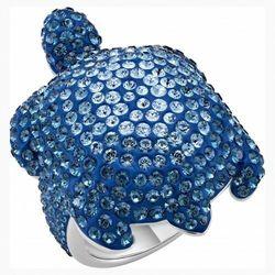 Pierścionek Mustique Sea Life Turtle, duży, niebieski, powlekany palladem