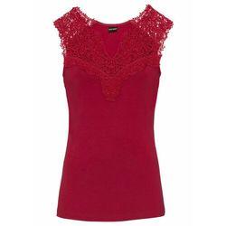 Shirt z koronką bonprix czerwony